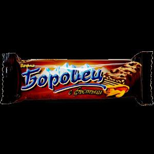 БОРОВЕЦ, Вафла шоколадова с портокалови корички и фъстъци 52g